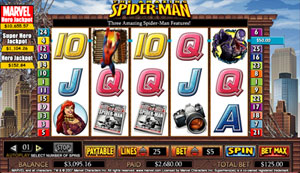 Screen Shot Of Spiderman Slot Game. Here Is Where You Set Your Bet Size And Number Of Lines To Play, Also View Paytable Info.