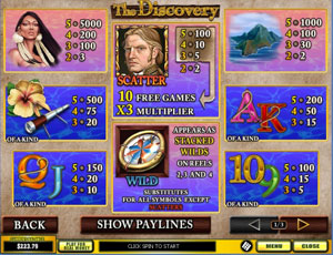 The Discovery Slot Paytable